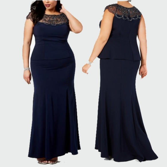 Xscape Plus Size Beaded-yoke Mermaid Gown NWT